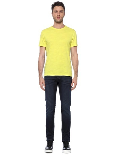 NetWork Erkek 1074814 Slim Fit Bisiklet Yaka Basic T-shirt Sarı